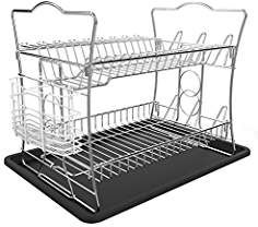 ESYLIFE 2 Tier Dish Drainer with Tray Dish Drying Rack with Utensil Holder, Chrome Finished