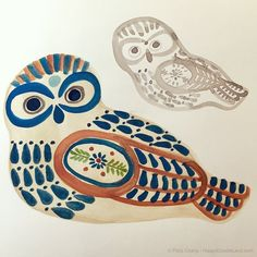 Mexican pottery owl in sketchbook / Flora Chang
