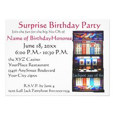 60th Birthday Party Casino Slot Machine Custom Announcements