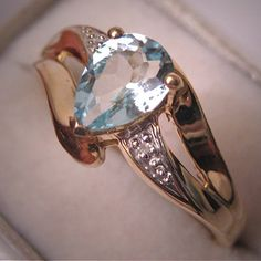Aquamarine Diamond Ring Estate Gold Vintage Jewelry via Etsy