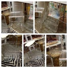 """Lucite, lucite and more lucite!  Lucite Stool with Back  25"""" High x 14"""" Wide x 15"""" Deep  $225  Lucite Wall Magazine Rack 27"""" High x 12"""" Wide x 6"""" Deep $95  Lucite Magazine Rack for Floor 13"""" High x 12"""" Wide x 7"""" Deep $48  Lucite Caddy for Flatware or Makeup  $22  Eclectic Treasures Booth #8279  Lula B's  1010 N. Riverfront Blvd. Dallas, TX 75207"""