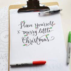 """""""Sharpie festivities with my favorite Christmas song. Black pilot petite 3 brush pen! #letteritdecember #jchungwrites"""""""