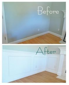 panel  picture frame wainscoting = nice improvement for a living room / dining area