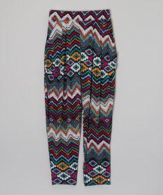 Purple & Blue Aztec Harem Pants - Girls by American Kids #zulily #zulilyfinds