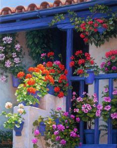 Resultado de imagen para cottage atrium, patio with water, flowers Garden Paths, Garden Landscaping, Beautiful Gardens, Beautiful Flowers, Outside Patio, Balcony Garden, Spanish Style, Flower Boxes, Container Gardening