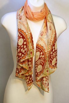 Tangerine orange and Lime green Chiffon Scarf