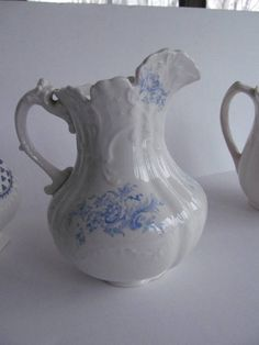 Blue Transferware Pitcher Antique Blue and White Ironstone