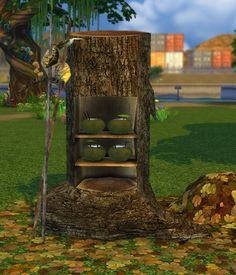"""Forest Fantasy Fridge biguglyhag: """" Get it *HERE* This is the Tree shelf from Castaway Stories ~ Surfer Paul's Ultra-Tropic Snack Bar as a refrigerator. Waterfall Shower, Small Waterfall, Die Sims, Sims 2, Around The Sims 4, Outdoor Bathtub, Natural Waterfalls, Tree Shelf, Best Sims"""