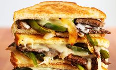 The 58 Most Delish Grilled Cheese Sandwiches - Sweet dreams are made of (grilled) cheese sandwiches such as this Philly Cheesesteak Grilled Cheese! Best Grilled Cheese Sandwich Recipe, Grilled Cheese Recipes, Delicious Sandwiches, Wrap Sandwiches, Vegetarian Sandwiches, Grilled Cheeses, Panini Sandwiches, Wrap Recipes, Dinner Recipes