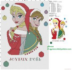 Elsa et Anna Joyeux Noel grille point de croix