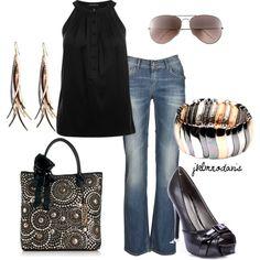 Black & Tri-Color, created by jklmnodavis on Polyvore