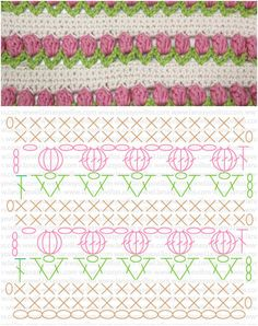 Crochet Flowers Pattern Tulip in a row Free crochet Pattern. (Video ) - Crochet Tulip is amazing. Especially the crochet flower pattern has all the trappings which can make a perfect spring blanket. Crochet Baby Blanket Free Pattern, Crochet Stitches Free, Crochet Flower Patterns, Crochet Diagram, Crochet Chart, Crochet Flowers, Free Crochet, Knitting Patterns, Crochet Bags