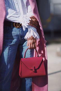 5ff95044715 Pink Coat   VALEXTRA ISIDE BAG via  HallieDaily