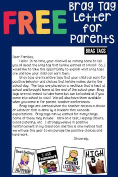 FREE letter to parents explaining brag tags in the classroom.                                                                                                                                                                                 More