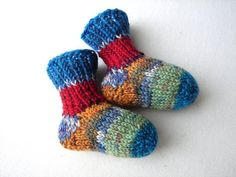Thin newborn socks blue mint red orange striped by TinyOrchids, $20.00