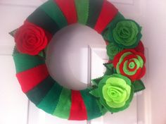 Handmade Holiday Yarn Wreath with Green and Red Roses -12 in wreath-ready to ship
