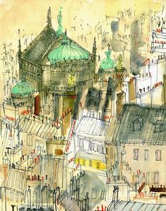 Opera Garnier & Paris Rooftops  Signed Print by UK artist and printmaker Clare Caulfield  The print is a reproduction taken from my original