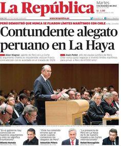 Primer día de alegatos. Perú - 03.12.12 (La República - Perú - 04.12.12). #LaHaya #Peru #Chile
