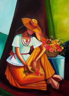 pintura a óleo, cubista, flores, floral, florista Mexican Paintings, Mexico Art, Art Africain, Southwest Art, Naive Art, Types Of Art, Op Art, Beautiful Paintings, Figure Painting