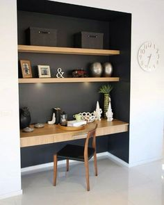 Study nook somewhere in main living zone, like the contrast dark colour and wood… – Modern Home Office Design Desk Nook, Office Nook, Study Office, Bookshelf Desk, Corner Desk, Book Shelves, Small Office, Alcove Desk, Computer Nook