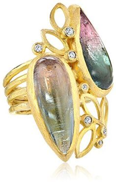 Of A Kind Julieli One 18k Gold Tourmaline and Diamond Bouquet Ring