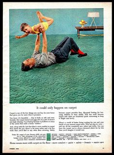 1956 #Carpet #HomeDecor Father and Son Department Stores #Vintage #1950s  Print #Ad