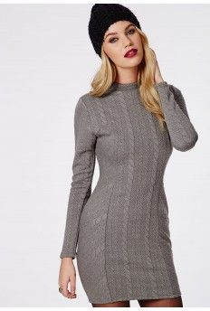 Perrine Jacquard Cable Look Bodycon Dress Grey £15