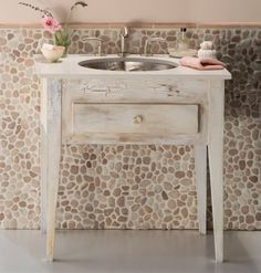 "A great little vanity for small bathroom in place of pedestal idea; flat stone ""backsplash"""