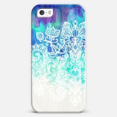 Indigo & Aqua Abstract with White Doodle iPhone 5s case by Micklyn Le Feuvre | Casetify