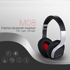Ausdom M08 Wire/Wireless FashiAusdom M08 Wire/Wireless Fashion Foldable Bluetooth Headset Rich Bass with Built-in Microphone (Black+Silver). Great for travel: soft, comfortable, solid and foldable headset construction for long time use. Bluetooth V4.0 technology allows M08 to communicate with your Bluetooth enabled device within 10 meters range. Optional connection via 3.5mm audio cable for streaming music without worrying battery dead. Powerful and rich bass speaker brings you amazing…