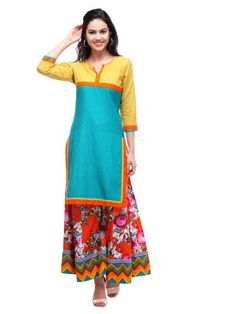 Shopo.in : Buy S Teal Embroidered Swiss-dobby Kurtis online at best price in New Delhi, India
