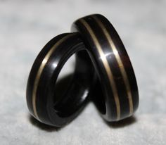 Wood Ring His and Hers African Blackwood by KHWoodworkings on Etsy, $75.00