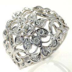 【中古】Pt900 ダイヤモンド フラワー リング/新品仕上げで高品質な中古ジュエリーを格安で提供いたします。