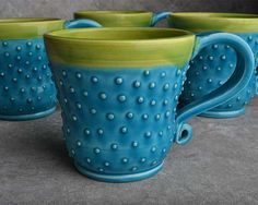 Cool Blue Curvy Mugs
