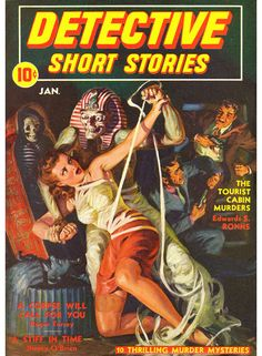 Detective Short Stories, Norman Norm Saunders pulp cover girl woman dame grasp grab tied bound mummy Egypt Egyptian gun pistol rescue fight danger