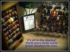Belt Bracelet displays from ordinary items in a thrift store for under $5 each.  Win-Win!