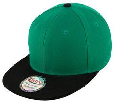 1d30889bd9868 Blank Acrylic Two-Tone Snapback Cap - Kelly Green Black