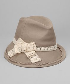 Take a look at this Beige Bow Fedora - Women by San Diego Hat Company on #zulily today!