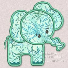 Amazing Embroidery Designs  Green applique elephant