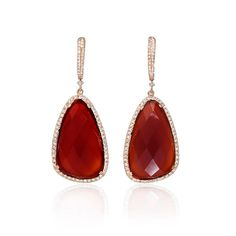 NEW: Vibrant in color, these dangle earrings feature two brilliantly faceted rust agate stones 24.77ctw. with white diamond accents crafted in 14k rose gold.