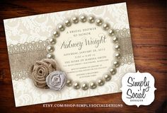 Rustic Chic Burlap, Lace and Pearls Bridal Shower Invitation on Etsy, $20.00