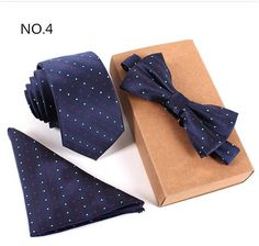 @thetieguys Blue with Polka Dots Necktie, Bow Tie, and Handkerchief Set