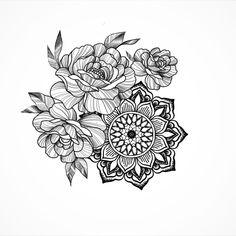 #plashkina_ink #flower #piony #mandala #tattoo #mehendi #graphick #art Music Tattoos, Leg Tattoos, Arm Tattoo, Sleeve Tattoos, Mandala Tattoo, Flower Skull, Flower Mandala, Trendy Tattoos, Cool Tattoos