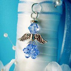Something Blue Angel Bouquet Charm Swarovski Lt. Blue Crystal Angel