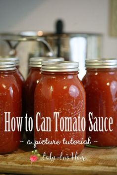 How to can tomato sauce. Preserve the flavor of summer tomatoes by canning them as a sauce. Here is a step by step picture tutorial of how to do it! #LadyLee'sHome