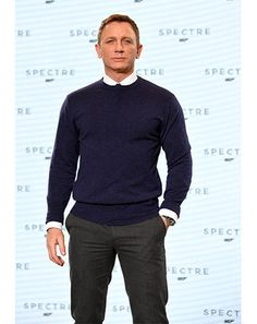 Daniel Craig wearing Grey Suit, White Dress Shirt, Black Leather Derby Shoes…