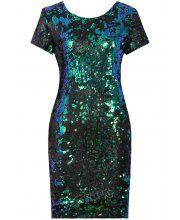 LOVARNI Blue & Green Contrast Back Zip Up Sequin Bodycon Dress