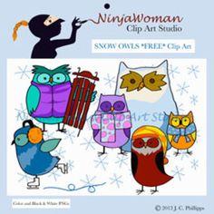 Snow Owls *FREE* Clip Art