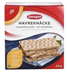 Semper glutenfrie havreknekkebrød. Finnes i de fleste matvarebutikker.