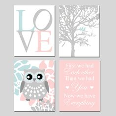 Baby Girl Nursery Art Quad LOVE Birds in a Tree Floral by Tessyla